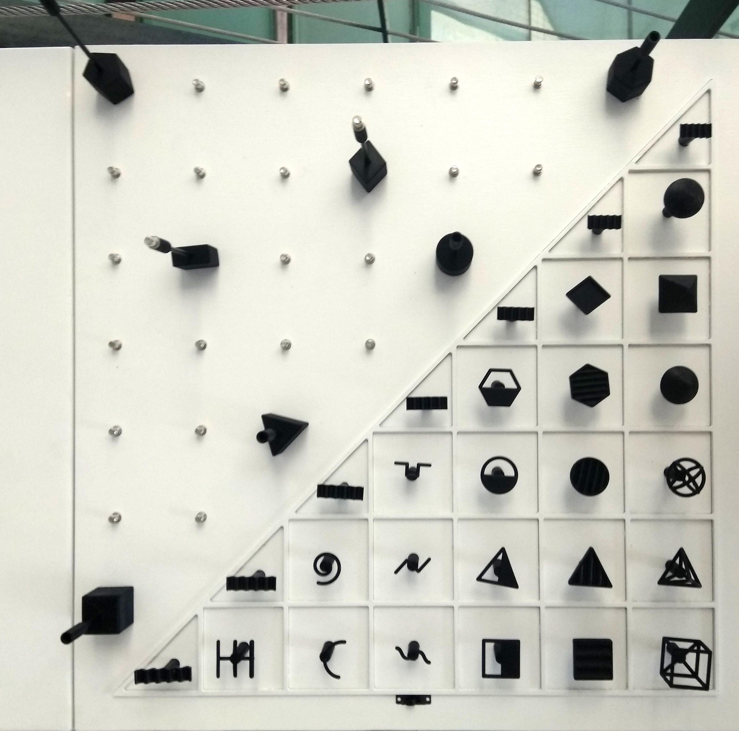 Διαδραστικά Μουσειοπαιδαγωγικά Αντικείμενα για την ερμηνεία του έργου Σινιάλα του καλλιτέχνη Τάκι, της συλλογής του MOMus-Μουσείου Σύγχρονης Τέχνης. Τα αντικείμενα έχουν τοποθετηθεί σε ένα ξύλινο λευκό κουτί και περιλαμβάνουν ένα αντίγραφο του έργου τέχνης σε μικρότερη κλίμακα, έναμαγνητικό πίνακα αλληλεπίδρασης και στοιχεία που παρουσιάζουν τα βασικά γεωμετρικά σχήματα, είδη γραμμών και μια ηχητική ερμηνεία των βασικών χρωμάτων. Στην εικόνα εμφανίζεται ο πίνακας αλληλεπίδρασης της άνω δεξιάς πλευράς. Ο πίνακας περιλαμβάνει γεωμετρικά σχήματα, διάφορα είδη γραμμών και τις κυματομορφές των βασικών χρωμάτων σε τρισδιάστατες εκτυπώσεις, ωστε οι χρήστες να μπορούν να τα αγγίξουν και να διακρίνουν ομοιότητες και διαφορές μεταξύ τους.